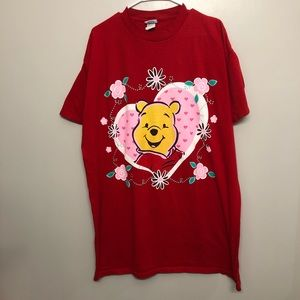 Disney Winnie the Pooh love shirt red one size